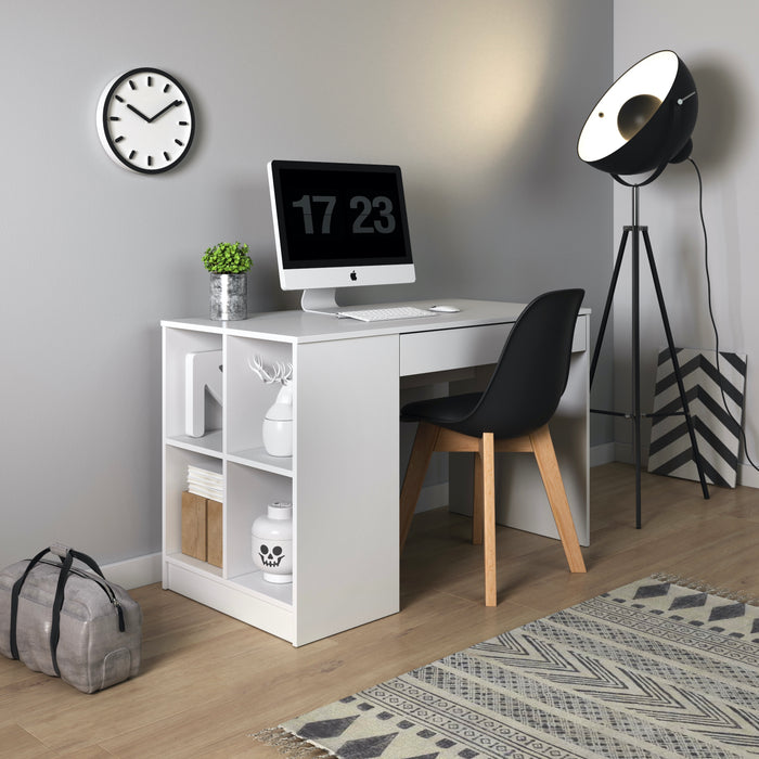 Mesa 1 Drawer Matt White Home Office Desk - FurniComp