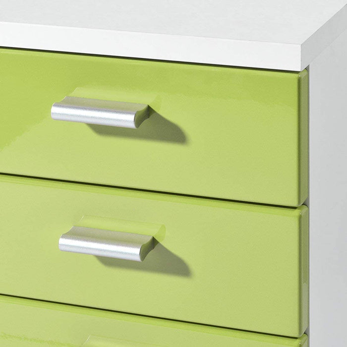 Metz 5 Drawer Green Gloss and White Drawer Pedestal - FurniComp