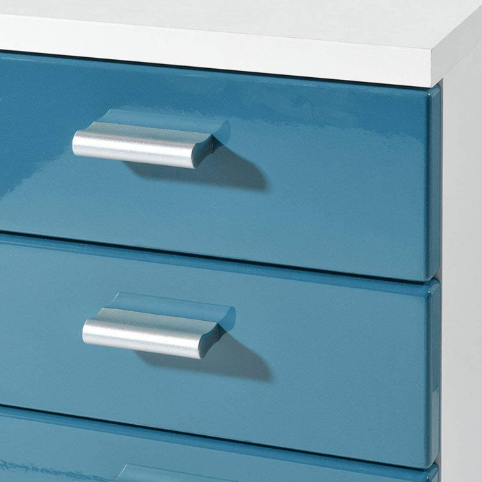 Metz 5 Drawer Petrol Blue Gloss and White Drawer Pedestal - FurniComp