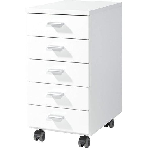 Metz 5 Drawer White Gloss Drawer Pedestal - FurniComp