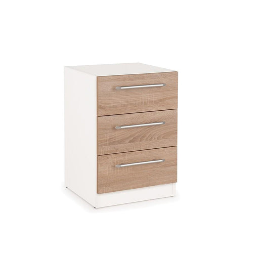Mia 3 Drawer White and Oak Bedside - FurniComp