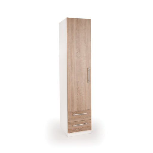 Mia White and Oak 1 Door 2 Drawer Wardrobe - FurniComp