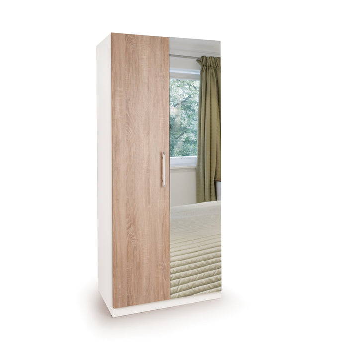 Mia White and Oak 2 Door Mirrored Wardrobe - FurniComp
