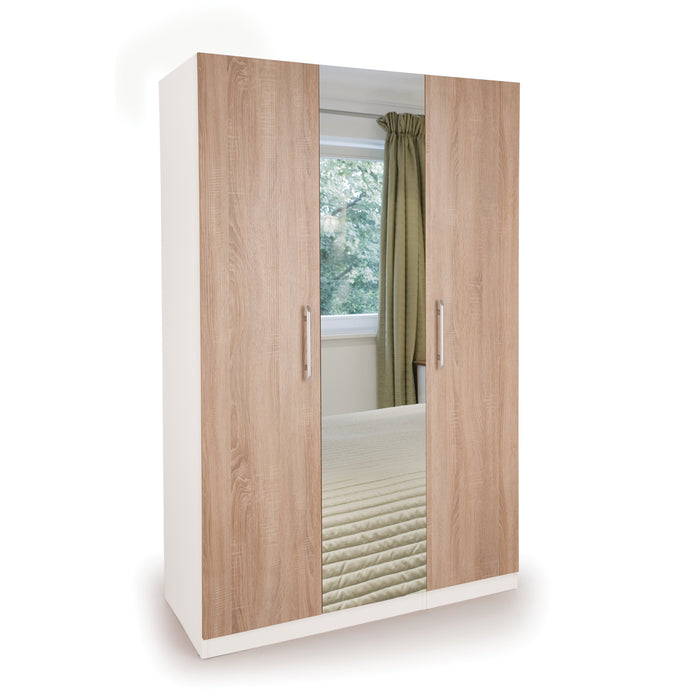 Mia White and Oak 3 Door Mirrored Wardrobe - FurniComp