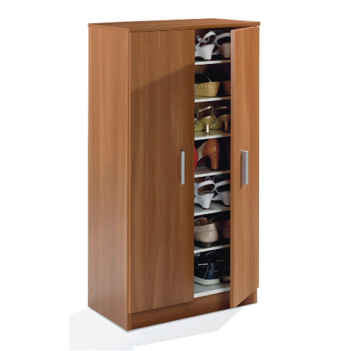 Milano 2 Door Nut Brown Shoe Storage Cupboard - FurniComp