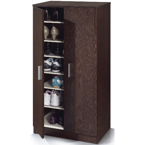 Milano 2 Door Wenge Dark Brown Shoe Storage Cupboard - FurniComp