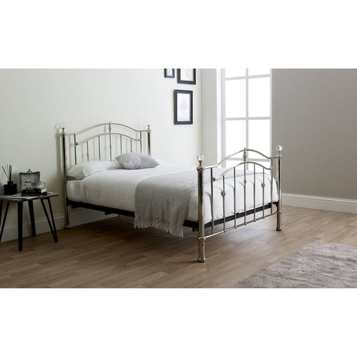 Mira Chrome with Crystal Finials Metal Bed Frame - FurniComp