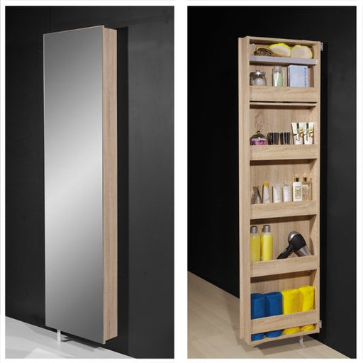 Moda Mirrored Rotating Shoe Storage Cabinet In Oak SC1015