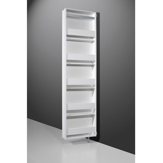 Moda Mirrored Rotating Shoe Storage Cabinet In White