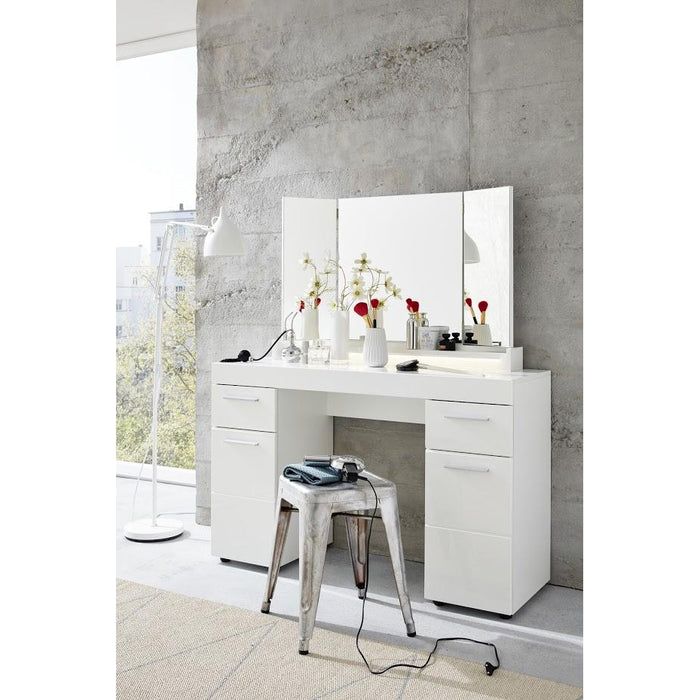 Modena 2 Door 2 Drawer White Gloss Dressing Table - FurniComp