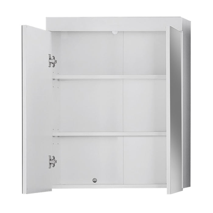 Modena 2 Door Mirrored White Wall Mounted Bathroom Cabinet - FurniComp