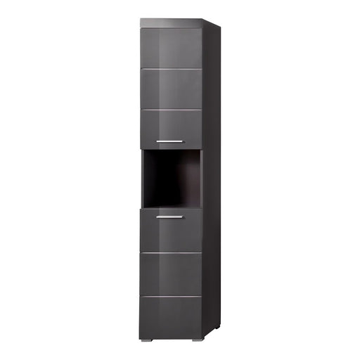Modena 2 Door Tall Grey Gloss Bathroom Cabinet - FurniComp