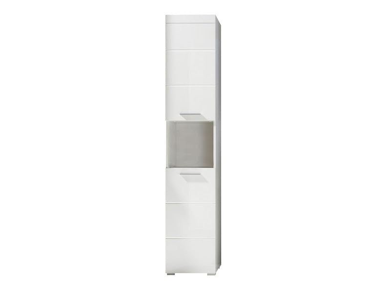 Modena 2 Door Tall White Gloss Bathroom Cabinet - FurniComp