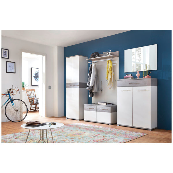 Montreal 2 Door 1 Drawer White and Concrete Grey Shoe Cabinet - FurniComp
