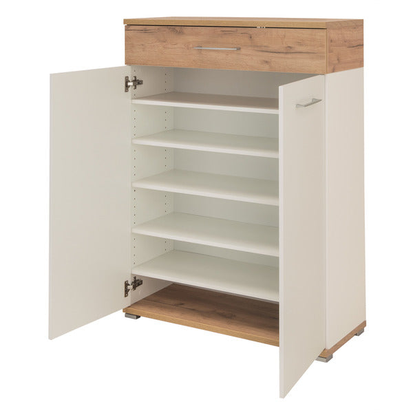 Montreal 2 Door 1 Drawer White and Oak Shoe Cabinet - FurniComp