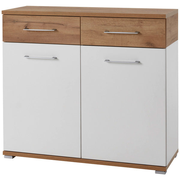 Montreal 2 Door 2 Drawer White and Oak Sideboard - FurniComp