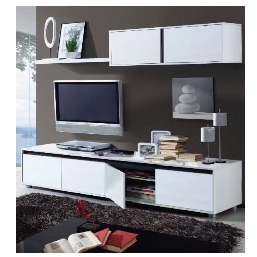 Montreux White Gloss TV Complete Wall Cabinet Unit - FurniComp