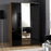 Munich 3 Door 2 Drawer German Wardrobe Black Gloss and Walnut