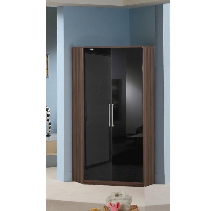 Munich 2 Door Corner German Wardrobe Black Gloss and Walnut - FurniComp