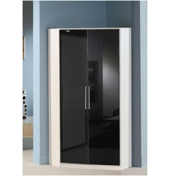 Munich 2 Door Corner German Wardrobe Black Gloss and Alpine White