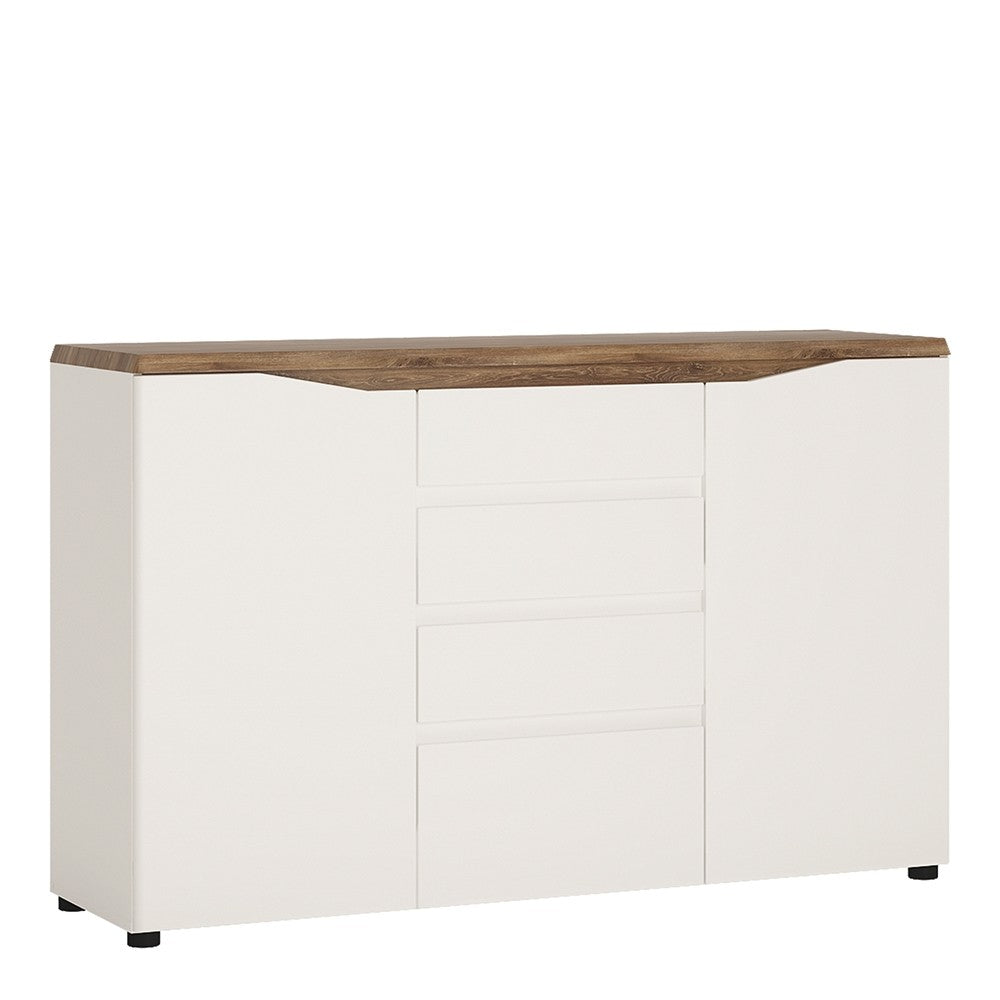 Munich 2 Door 4 Drawer White Gloss and Oak Sideboard