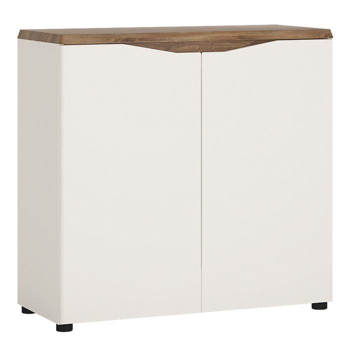 Munich 2 Door White Gloss and Oak Sideboard - FurniComp