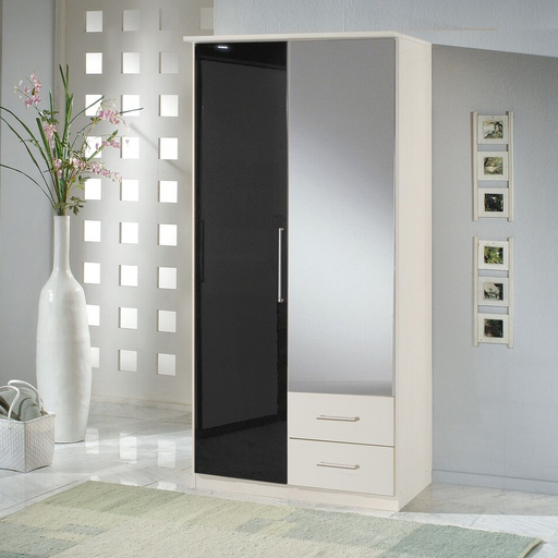 Munich 2 Door 2 Drawer German Wardrobe Black Gloss and Alpine White
