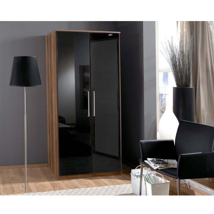 Munich 2 Door German Wardrobe Black Gloss and Walnut