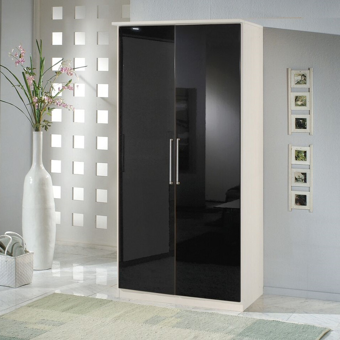 Munich 2 Door German Wardrobe Black Gloss and Alpine White