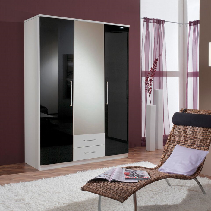 Munich 3 Door 2 Drawer German Wardrobe Black Gloss and Alpine White - FurniComp