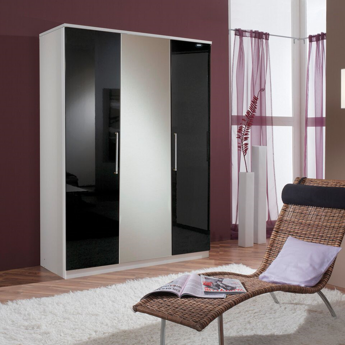 Munich 3 Door German Wardrobe Black Gloss and Alpine White