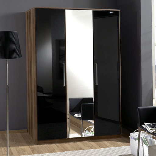 Munich 3 Door German Wardrobe Black Gloss and Walnut