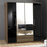Munich 4 Door 2 Drawer Wardrobe Black Gloss and Walnut - FurniComp