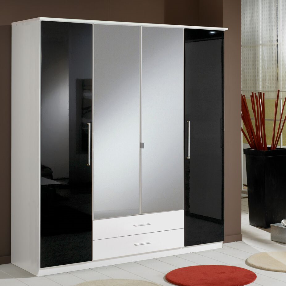Munich 4 Door 2 Drawer Wardrobe Black Gloss and White