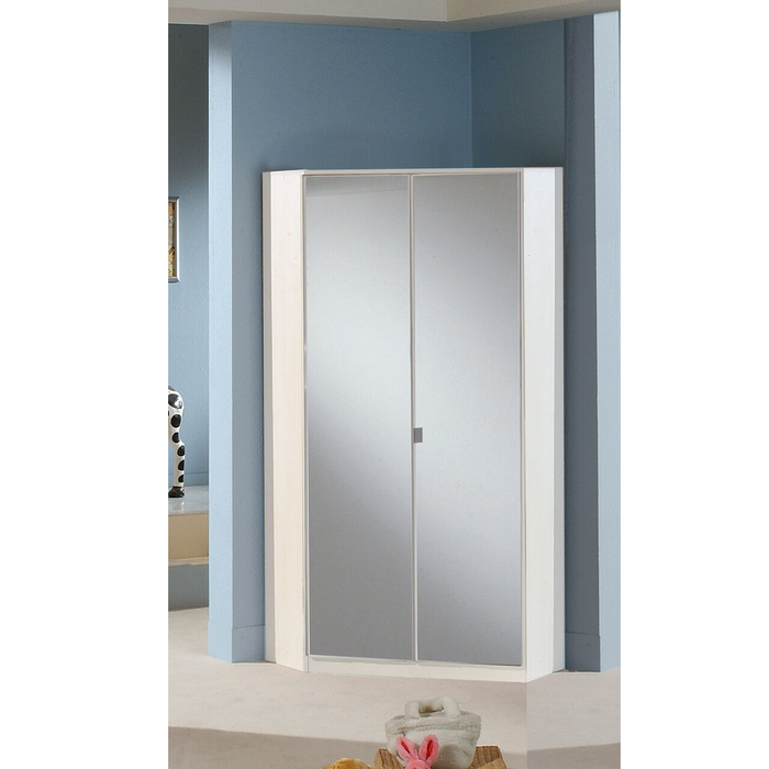 Munich 2 Door Corner German Wardrobe Mirrored and Alpine White - FurniComp
