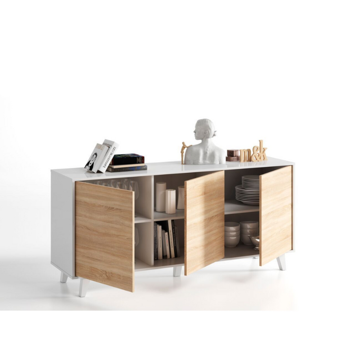 Munich Soft White Gloss With Oak Effect Sideboard Storage Cabinet - FurniComp