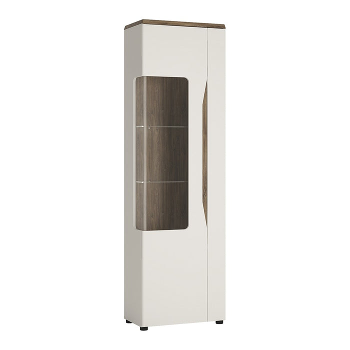 Munich White Gloss And Oak 1 Door Display Cabinet (LH) - FurniComp