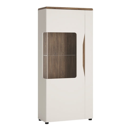 Munich White Gloss and Oak 1 Door Low Display Cabinet (LH) - FurniComp