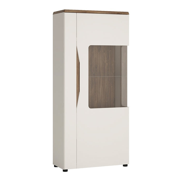 Munich White Gloss and Oak 1 Door Low Display Cabinet (RH) - FurniComp