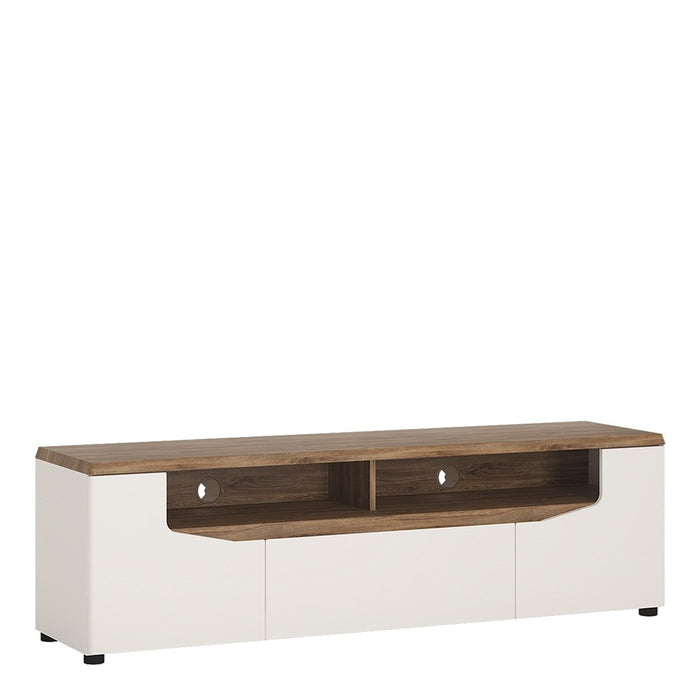 Munich White Gloss and Oak 2 Door 1 Drawer Wide TV Unit - FurniComp
