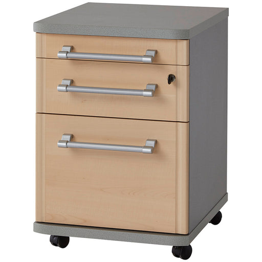 Munster 3 Drawer Maple and Silver Drawer Pedestal - FurniComp