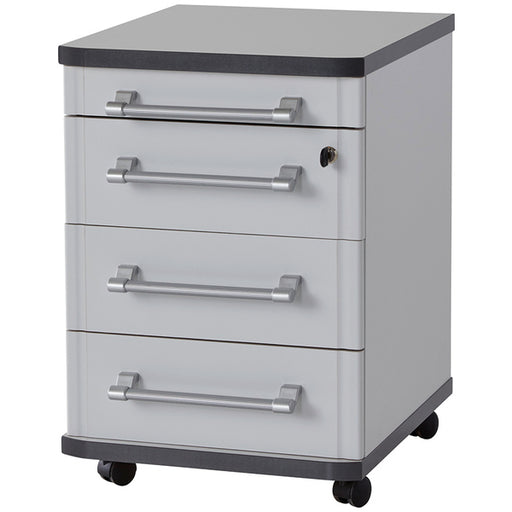 Munster 4 Drawer Light Grey Drawer Pedestal - FurniComp