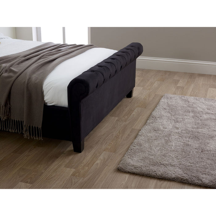 Myla Black Velvet Fabric Scroll Bed Frame - FurniComp