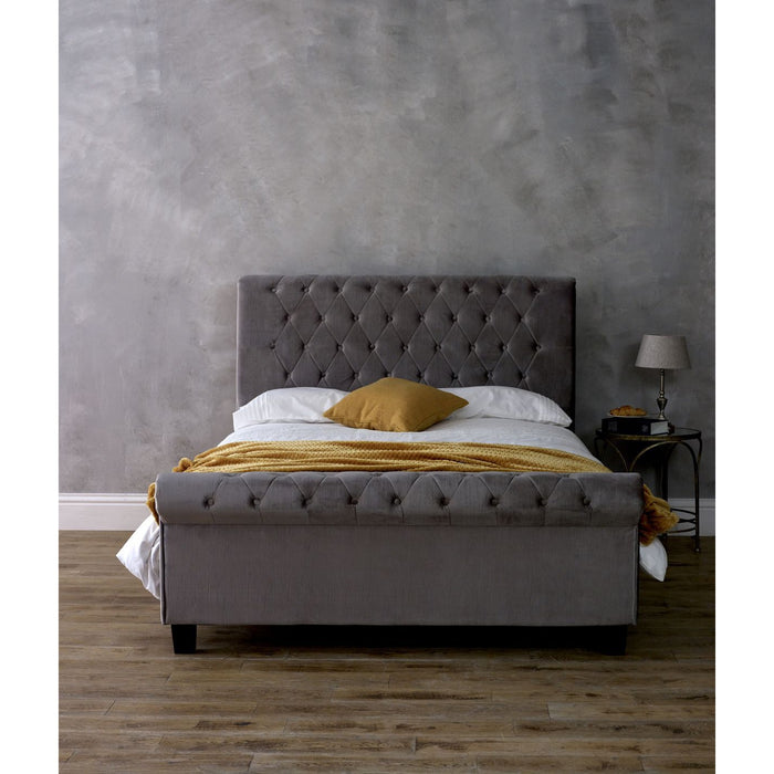 Myla Silver Velvet Fabric Scroll Bed Frame - FurniComp