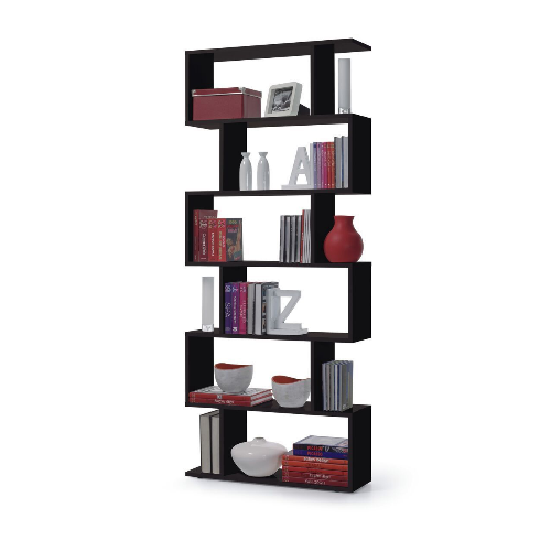 Newark Open Back Tall Black Gloss Bookcase Room Divider Organiser