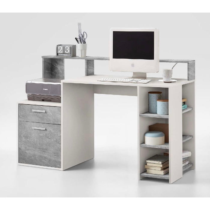 Nova White and Grey Desk with Hutch and Drawers - FurniComp