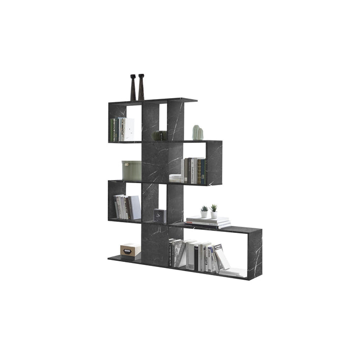 Novara Black Marble Effect Bookcase/Room Dividers - FurniComp
