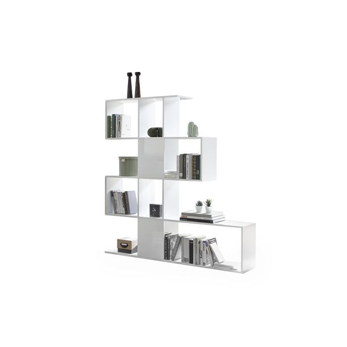 Novara White Gloss Bookcase/Room Dividers - FurniComp