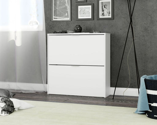 Novato 2 Drawer Matt White Shoe Cabinet - FurniComp