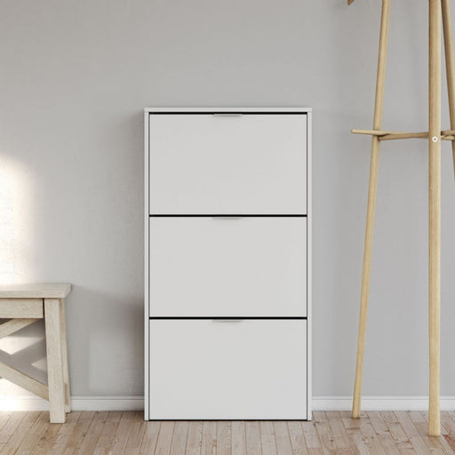 Novato 3 Drawer White Shoe Cabinet - FurniComp
